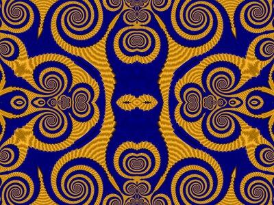 Symmetrische Struktur Hintergrund mit Spiralen. Blaue und gelbe pa