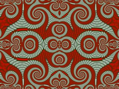 Symmetrische Struktur Hintergrund mit Spiralen. Graue und rote Palette