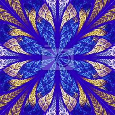 Symmetrischen fraktalen Blume in Glasmalerei Stil. Blau ein