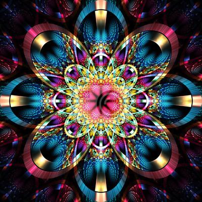 Symmetrischen fraktalen Muster mit glänzenden Streifen. Sammlung - rhi