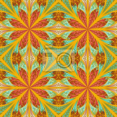 Symmetrischen Muster in Glasmalerei Stil. Braun Grün