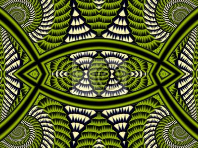 Symmetrischer strukturierter Hintergrund mit Spiralen. Graue und grüne Palette. Computer generierte Grafiken.