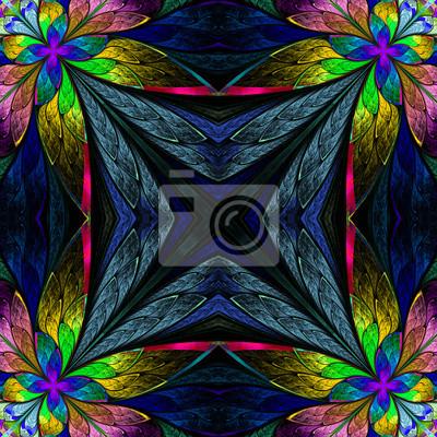 Symmetrisches mehrfarbiges Blumenmuster in der Buntglasfensterstil auf dunkelblauem. Computergenerierte Grafiken.
