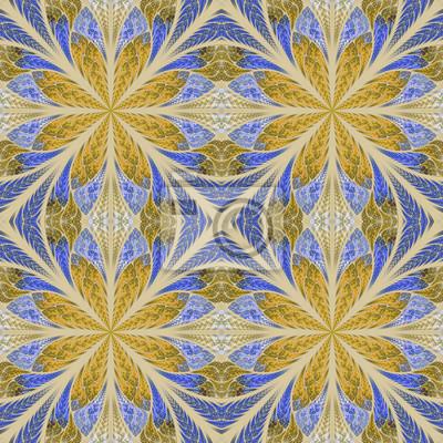 Symmetrisches Muster im Buntglasfensterstil. Blau und Beig