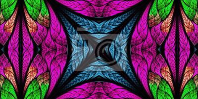 Symmetrisches Muster in der Buntglasfensterart. Blaue, violette und grüne Palette. Artwork für kreatives Design.