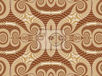 Sticker Symmetrisches Muster von Spiral Fractal. Beige und braune Palette