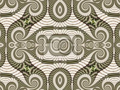 Symmetrisches Muster von Spiral Fractal. Graue und grüne Palette.