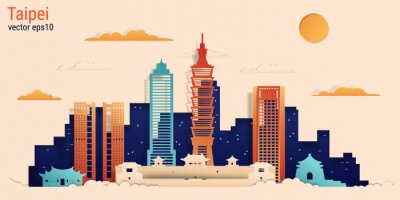 Taipei city colorful paper cut style, vector stock illustration. Cityscape with all famous buildings. Skyline Taipei city composition for design.