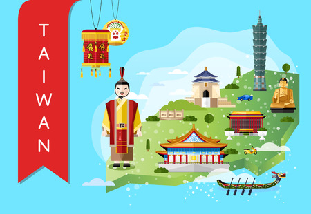 Taiwan famous landmarks and travel map with asian man in traditional dress on blue background, vector illustration. Time to travel concept. Asian architecture and traditional symbols in flat design.