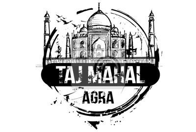 Taj Mahal. Agra, Indien Stadt Design. Hand gezeichnete Illustration.