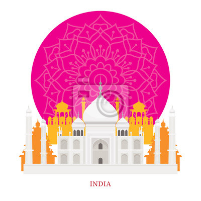 Taj Mahal, Indien Wahrzeichen mit Dekoration Hintergrund