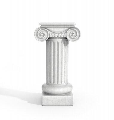 Sticker Tall Doric Säule Säule auf weißen Hintergrund isoliert. Sockel.