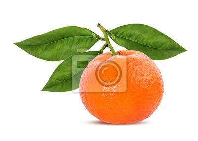 Sticker Tangerine mandarin fruit isolated on white background