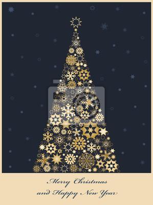 Tannenbaum aus goldenen Schneeflocken