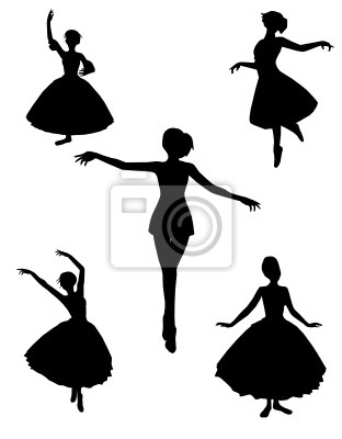 Tanz Silhouetten Vektor-Illustration schwarz und weiß