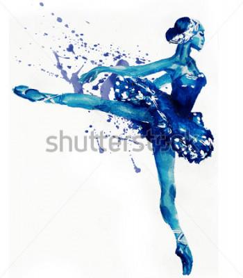 Sticker Tanzen-Ballerina im Blau. Aquarellillustration