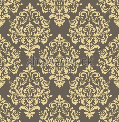 Sticker Tapete im Barockstil. Nahtloser Hintergrund Gold und graue Blumenverzierung. Grafisches Muster für Stoff, Tapete, Verpackung. Verzierte Damastblumenverzierung