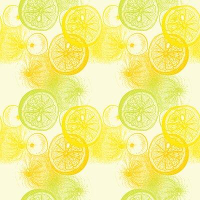 Sticker Tapete nahtlose Muster mit handgezeichneten Orangen Zitrusfrüchte. Drawi