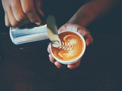 Sticker Tasse Kaffee Latte Art in der Kaffeestube