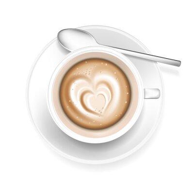 Sticker Tasse Kaffee mit Herzform in Schaum