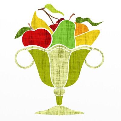 Sticker Tasse mit Früchten