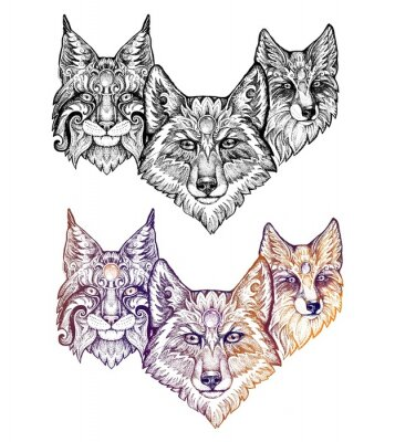 Sticker Tätowierung. Wolf, Luchs und Fuchs