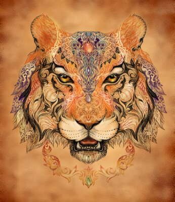 Sticker Tattoo, Grafik Kopf eines Tigers