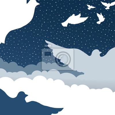 Tauben in Wolkenhimmel