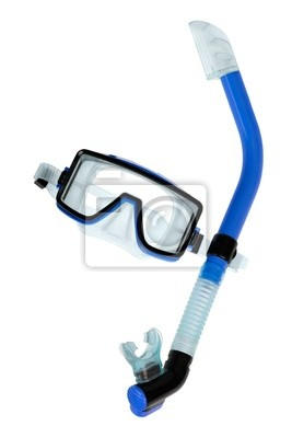 Sticker Taucherbrille mit Schnorchel Markt auf Reinweiß