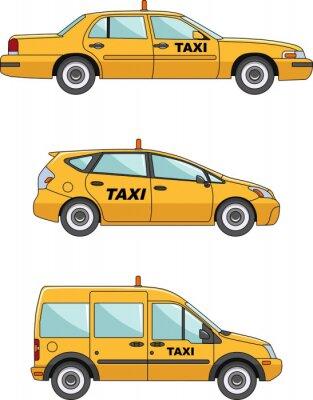 Sticker Taxi-Auto auf einem weißen Hintergrund im flachen Stil