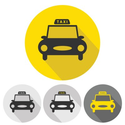 Sticker taxi car flat icons set