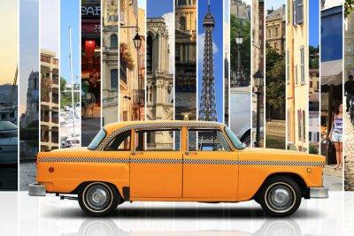 Sticker Taxi, retro car orange Farbe auf dem weißen Hintergrund