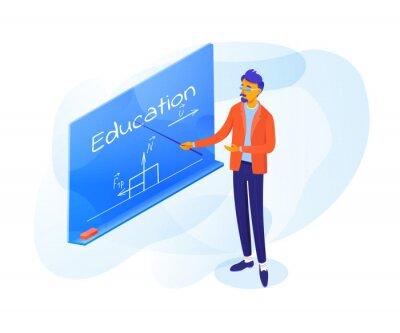 Teacher pointing on blackboard vector illustration