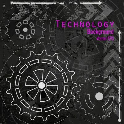 Sticker Technologie Hintergrund auf Tafel.