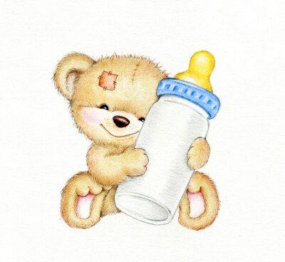 Sticker Teddybär mit Flasche Milch