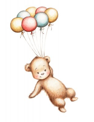 Sticker Teddybär mit Luftballons