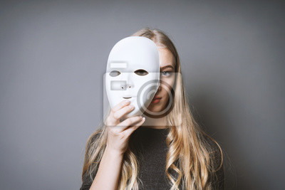 Sticker teen girl hiding her face behind mask - identity or personality concept
