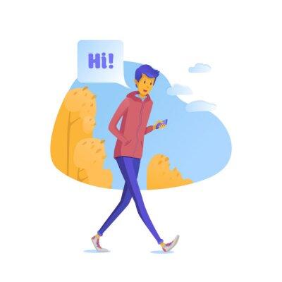 Teenager chatting online flat vector illustration