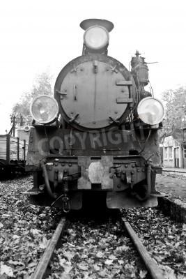 Sticker Teil der alten Dampfzug in Schwarz und Weiß