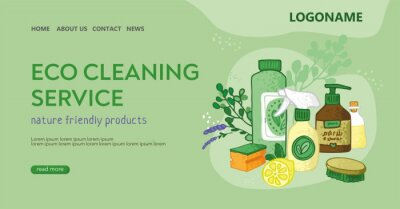 Template for the landing page for the eco cleaning service. Bottles, soap, spray, soda, brushes on an abstract cloud. Banner for non-toxic house cleaning. Concept of green home. Vector illustratration
