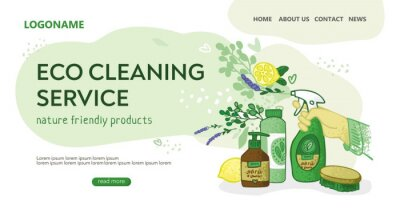 Template for the landing page for the eco cleaning service. Hand with a spray gun, jars, flowers on an abstract cloud. Banner for non-toxic house cleaning. Concept of green home. Vector illustration.
