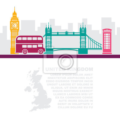 Template leaflets with a map of great Britain and landmarks of London