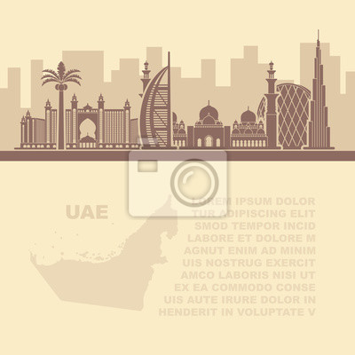 Template leaflets with a map of the UAE and Dubai attractions