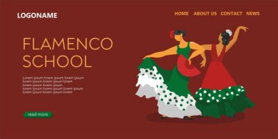 Template of the landing page of the Spanish dance school. Two flamenco dancers in beautiful dresses with a fan. The symbols of Spain for a promo, tourist guides, maps. Falt cartoon vector illustration