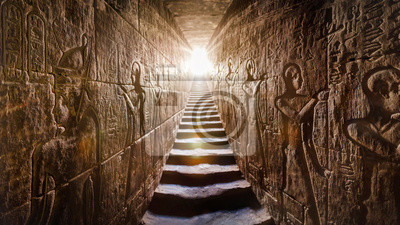 Sticker Temple of Edfu, Egypt. Passage flanked by two glowing walls full of Egyptian hieroglyphs, illuminated by a warm orange backlight from a door at the end of the stairs.