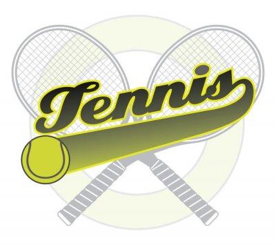 Sticker Tennis mit Endstück Banner ist eine Illustration eines Tennis-Entwurf mit dem Wort Tennis mit einem Schwanz Banner für Ihren eigenen Text, Tennisball und Tennisschläger.