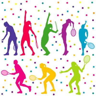 Sticker Tennis-Spieler Silhouette Sammlung