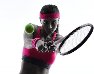 Sticker Tennisspielerin portrait silhouette