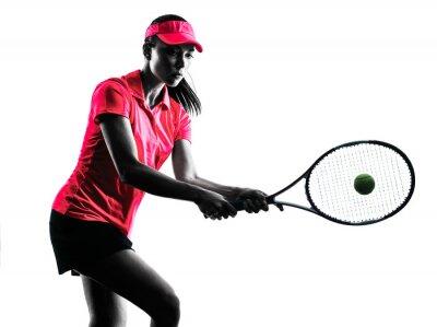 Sticker Tennisspielerin Traurigkeit silhouette