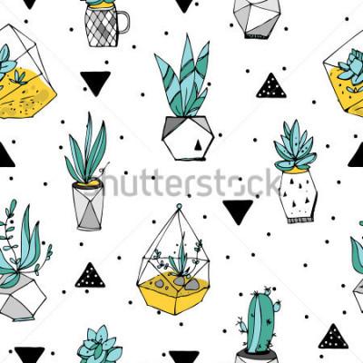 Sticker Terrarium nahtlose Muster. Sukkulenten Textur. Handgezeichnete minimalistische Abbildung. Skandinavisches Design mit floralen und geometrischen Elementen